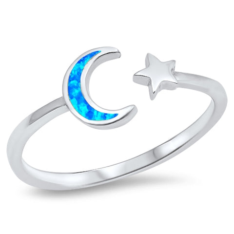 Blue Opal Wraparound Moon and Star  .925 Sterling Silver Ring Sizes 3-10