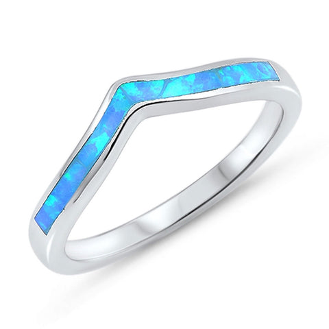 Lab Created Blue Opal Thumb Chevron Stackable .925 Sterling Silver Ring Sizes 4-10