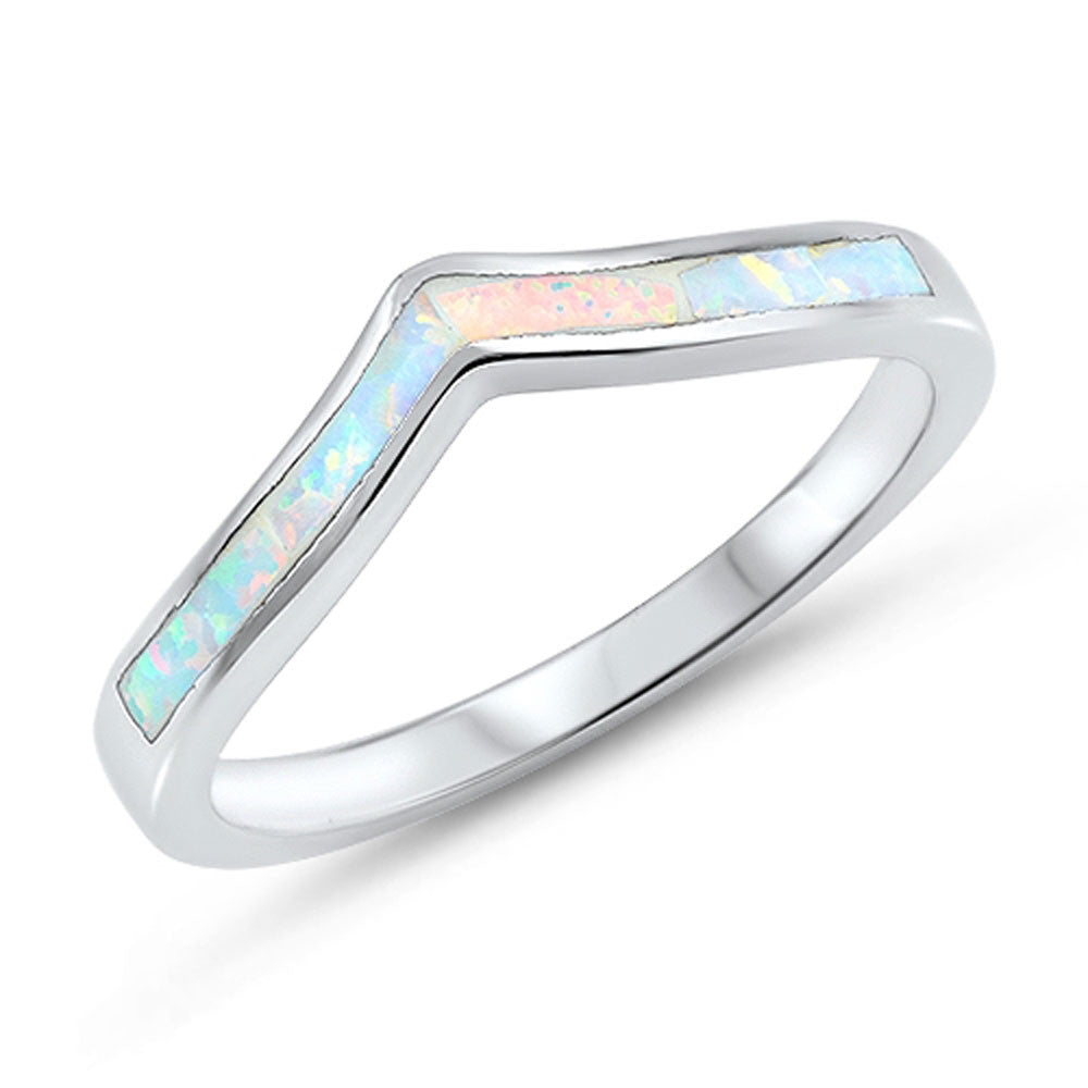 Lab Created Whte Opal Thumb Chevron Stackable .925 Sterling Silver Ring Sizes 5-10