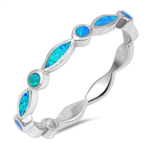 Blue Lab Created Opal All Seeing Eyes Stackable Band .925 Sterling Silver Ring Sizes 5-10