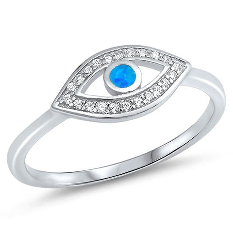 Lab Created Blue Opal Evil Eye CZ .925 Sterling Silver Ring Sizes 5-10