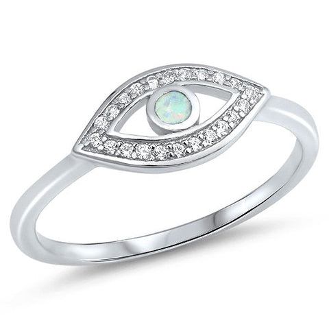 Lab Created White Opal Evil Eye CZ .925 Sterling Silver Ring Sizes 5-10