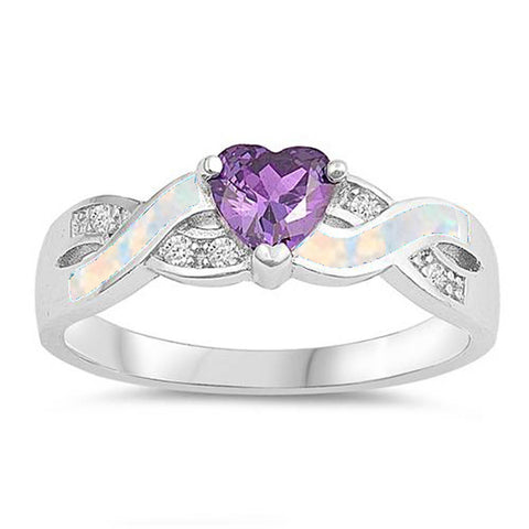 <span>CLOSEOUT!</span>Amethyst & Opal Heart Cubic Zirconia Infinity .925 Sterling Silver Ring Sizes 5-10