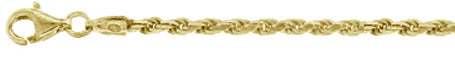050-2.5MM Yellow Gold Plated Rope Chain .925 Solid Sterling Silver Sizes 8-28""
