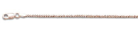 "025-1MM Rose Gold Plated Crisscross Chain .925  Solid Sterling Silver Available in 16""- 22"" inches"