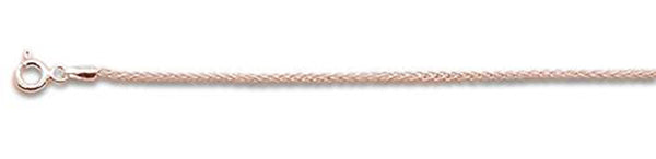 "045 1.9MM Rose Gold Plated Wheat/Spiga Chain .925  Solid Sterling Silver Available in 7""- 22"" inches"