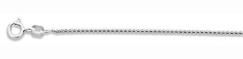 019-1MM Round Box Chain .925  Solid Sterling Silver Sizes 16-24""