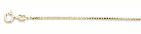 019-1MM Yellow Gold Plated Round Box Chain .925  Solid Sterling Silver Sizes 16-20""