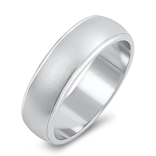 <span>CLOSEOUT!</span>  Men's Brushed Finish Wedding Band .925 Sterling Silver Ring Sizes 6-13