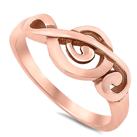 Rose Gold Plated Treble Clef Musical Note .925 Sterling Silver Ring Sizes 5-10