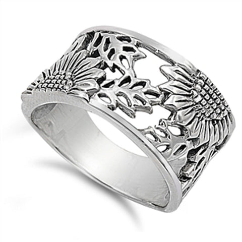 <span>CLOSEOUT!</span> Sunflower Filigree Design .925 Sterling Silver Ring Sizes 5-10