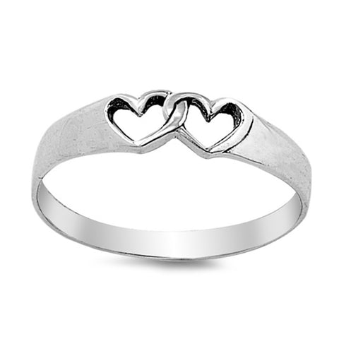 Interlocking Hearts .925 Sterling Silver Ring Sizes 3-10