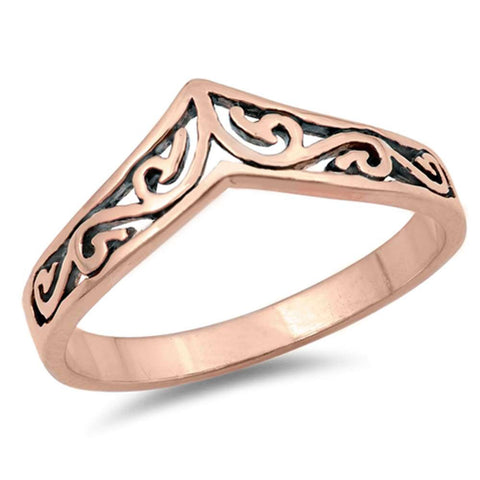 Rose Gold Plated Swirly Chevron Design Thumb .925 Sterling Silver Ring Sizes 3-10