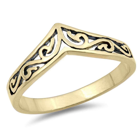 Yellow Gold Plated Swirly Chevron Design Thumb .925 Sterling Silver Ring Sizes 3-10
