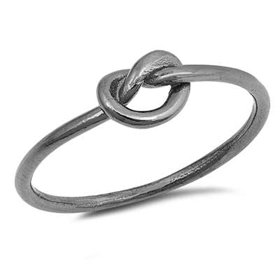 <span>CLOSEOUT!</span>Infinity Heart Knot Black Plated .925 Sterling Silver Ring Sizes 4-10