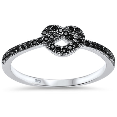 Black Cubic Zirconia Heart Love Knot .925 Sterling Silver Ring Sizes 4-10
