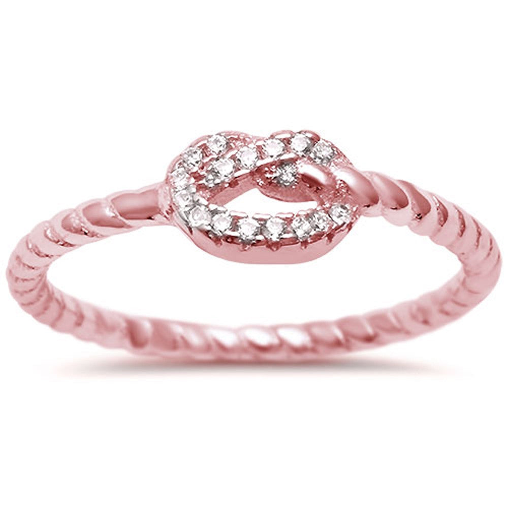 <span>CLOSEOUT!</span>Rose Gold Plated Heart Love Knot Rope Design .925 Sterling Silver Ring Sizes 4-10