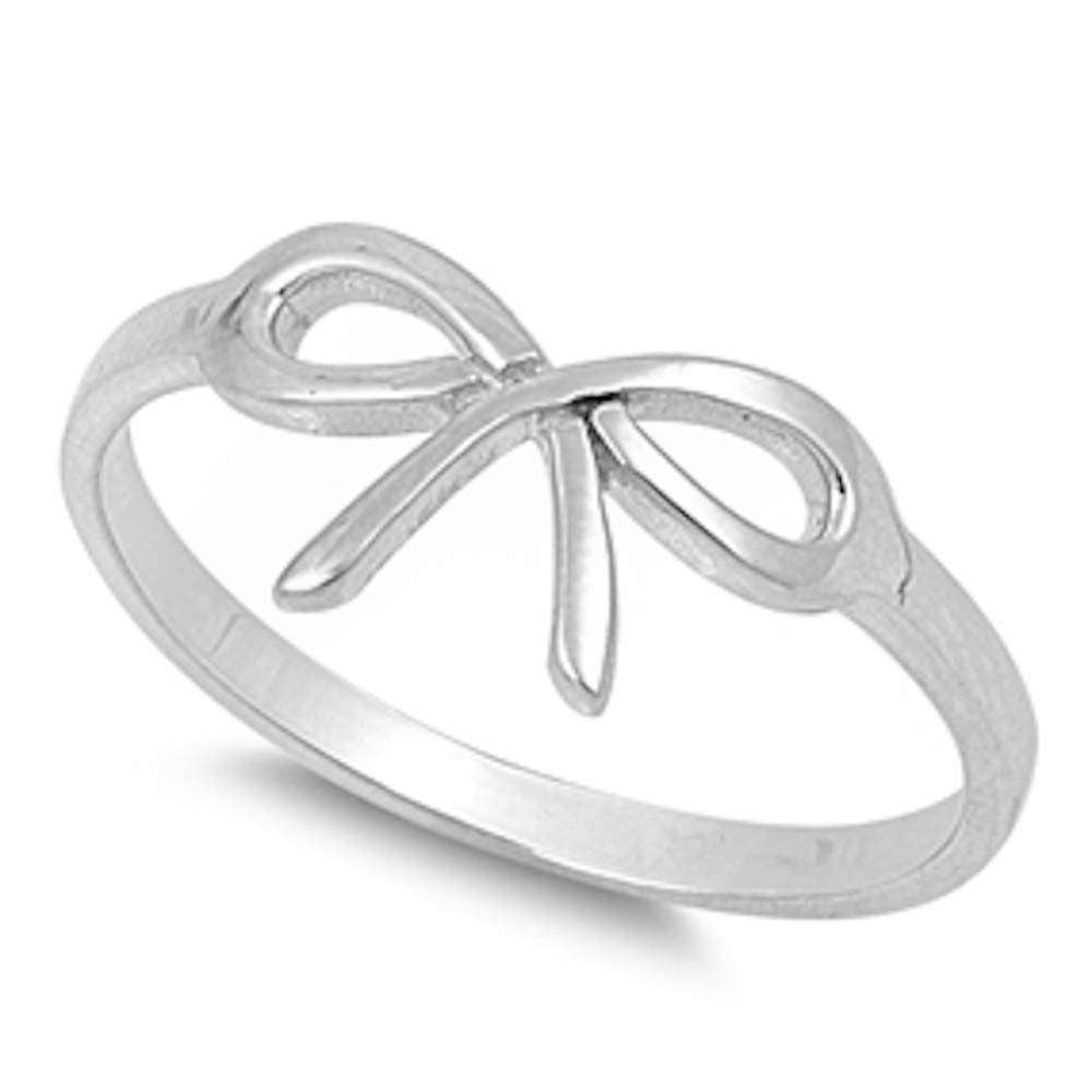 Cute Infinity Bow Tie .925 Solid Sterling Silver Ring Sizes 4-9