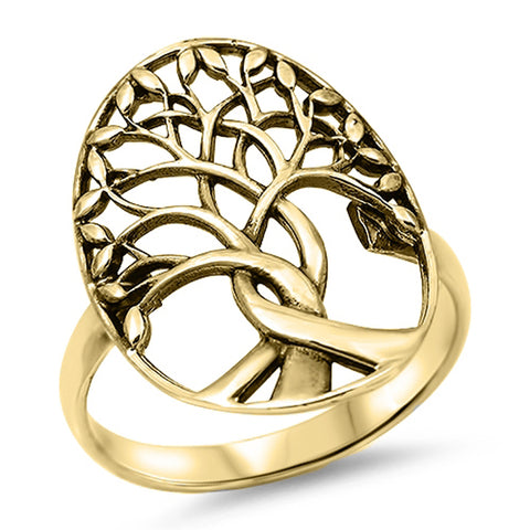 Yellow Gold Plated Family Tree .925 Solid Sterling Silver Ring Sizes 5-10