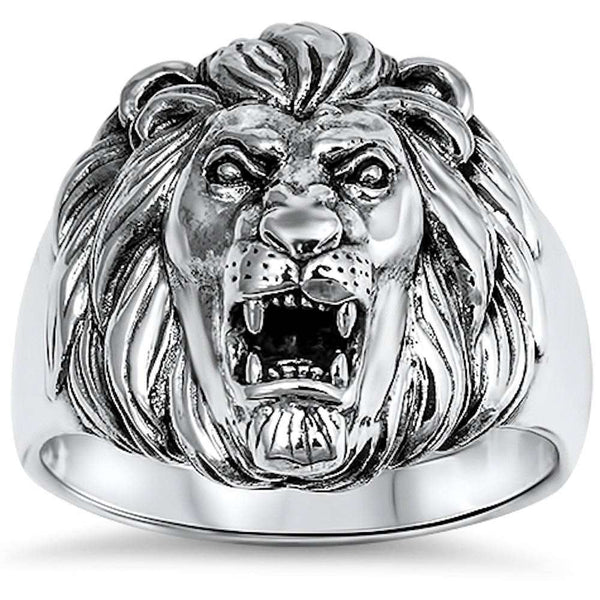 New Solid Lion .925 Sterling Silver Ring Sizes 7-14