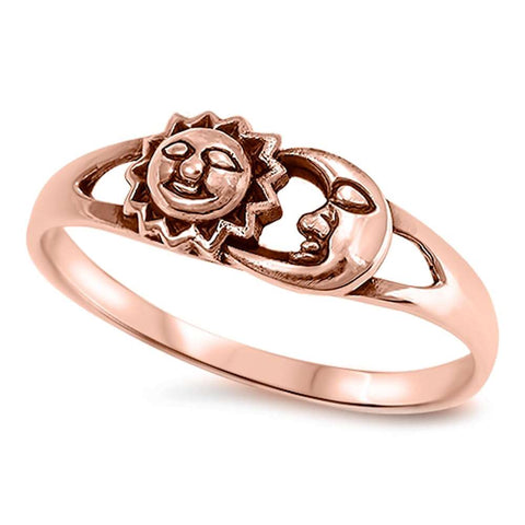 Celestial Rose Gold Plated Sun & Moon .925 Sterling Silver Ring Sizes 4-11