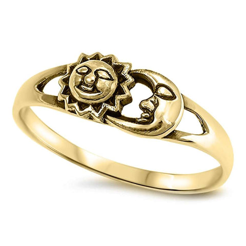 Celestial Yellow Gold Plated Sun & Moon .925 Sterling Silver Ring Sizes 4-11