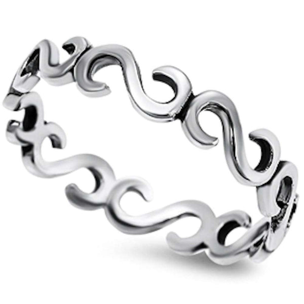 Solid Design Fashion Band .925 Sterling Silver Ring Sizes 3-9