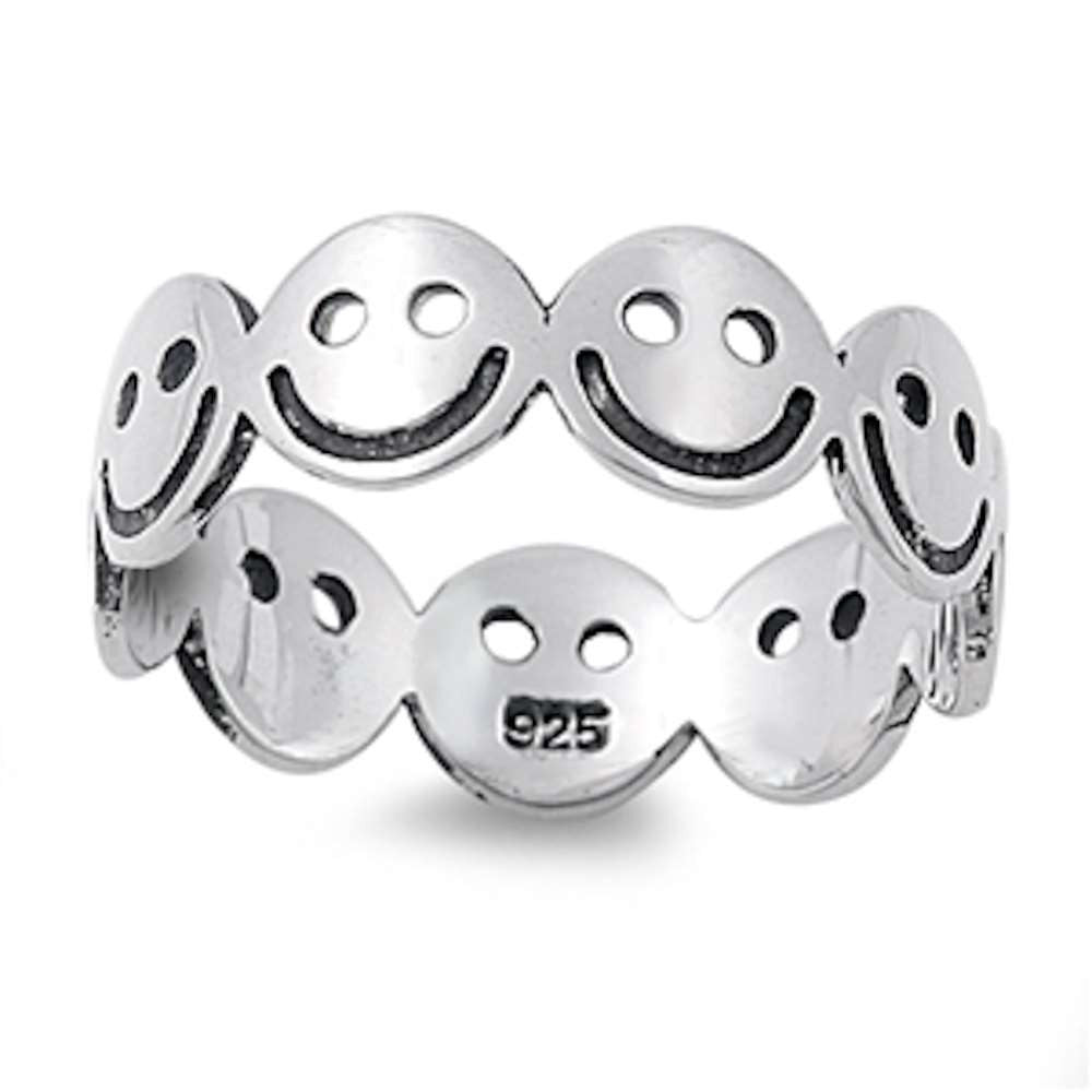 Solid Eternity Smiley Face .925 Sterling Silver Ring Sizes 5-10