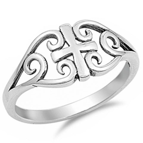 Solid Cross Design .925 Sterling Silver Ring Sizes 4-11