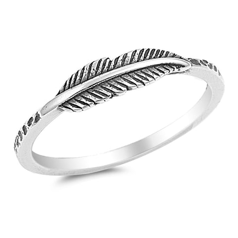 Plain Feather .925 Sterling Silver Ring Sizes 4-11