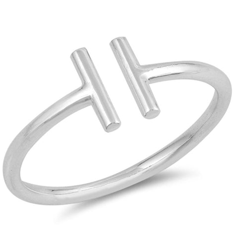 .925 Solid Sterling Silver Trendy! Plain Open T Ring Sizes 4-12
