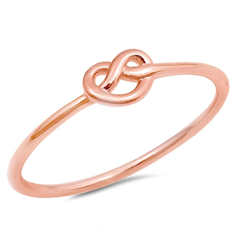 Rose Gold Plated Love Knot Heart .925 Sterling Silver Ring Sizes 4-11