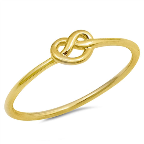 Yellow Gold Plated Love Knot Heart .925 Sterling Silver Ring Sizes 4-11