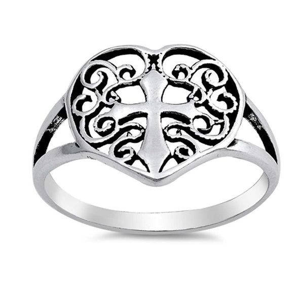 <span>Closeout!</span>Solid Antique Heart w/ Cross .925 Sterling Silver Ring Sizes 5-10