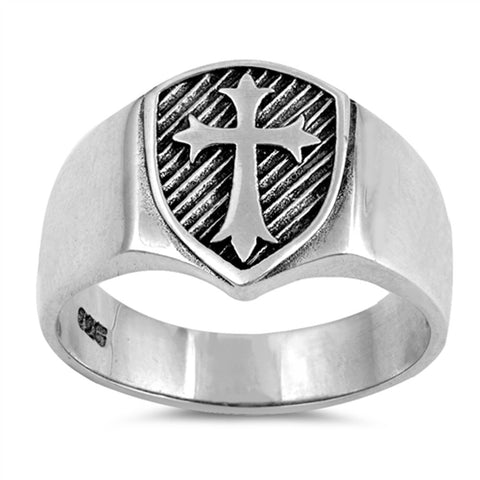 Men's Solid Medieval Shield Cross Band .925 Sterling Silver Ring Sizes 5-13