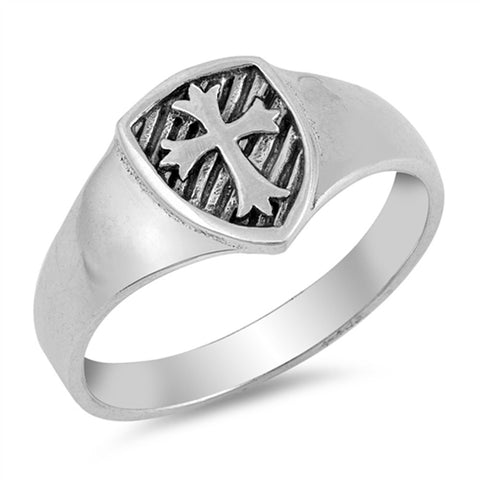 Men's Solid Medieval Cross Band .925 Sterling Silver Ring Sizes 5-10