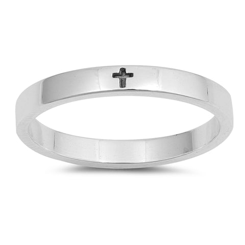 Little Engraved Cross Band .925 Sterling Silver Ring Sizes 5-10