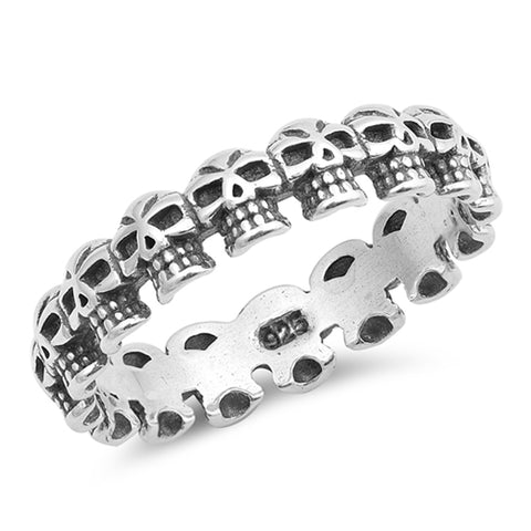 Plain Multiple Skulls Band .925 Sterling Silver Ring Sizes 5-10