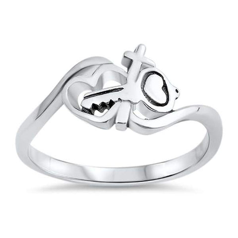 Key Heart Cross Band .925 Sterling Silver Ring Sizes 5-10