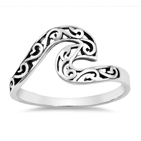 Filigree Wave .925 Sterling Silver Ring Sizes 5-10