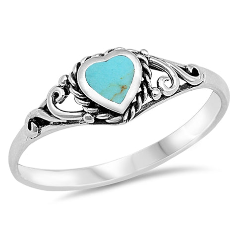 Heart Shape Turquoise .925 Sterling Silver Ring Sizes 5-10
