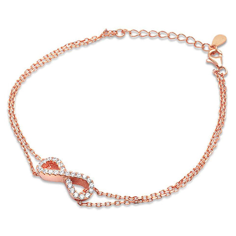 Rose Gold Plated Cz Infinity .925 Sterling Silver Bracelet