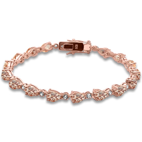 "Rose Gold plated Pear Morganite & Cubic Zirconia .925 Sterling Silver Bracelet 7.5"" Long"