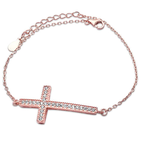 Rose Gold Plated Micro Pave Cz Cross .925 Sterling Silver Bracelet