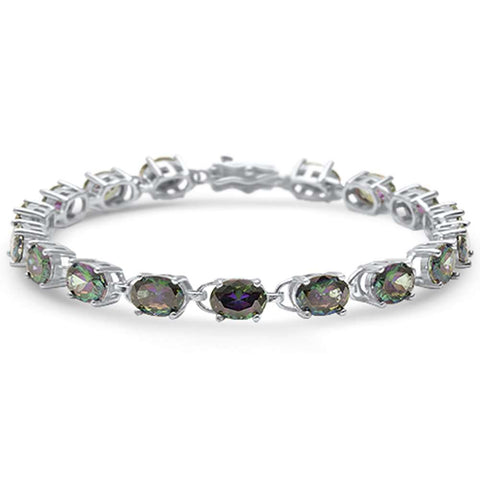 13.5CT Oval Rainbow Topaz .925 Sterling Silver Bracelet