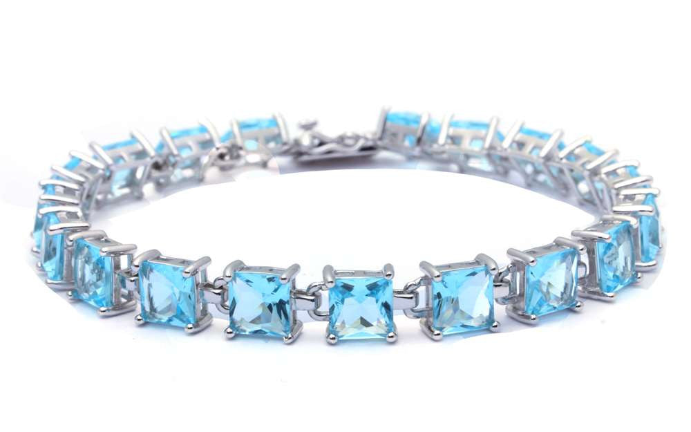 24CT Princess Cut Aquamarine .925 Sterling Silver Bracelet