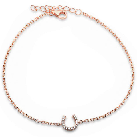 Rose Gold Plated Horse Shoe .925 Sterling Silver Bracelet