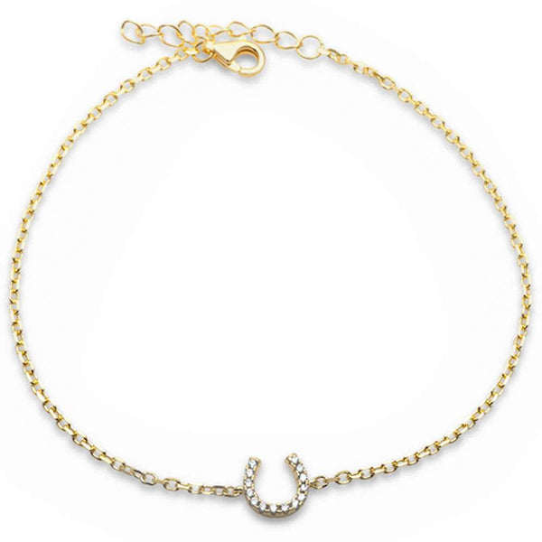 Yellow Gold Plated Horse Shoe .925 Sterling Silver Bracelet