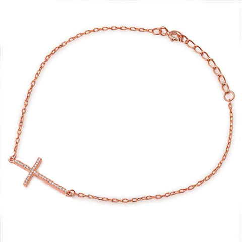 Rose Gold Plated Sideways Cz Cross .925 Sterling Silver Bracelet