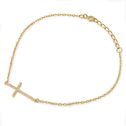 Yellow Gold Plated Sideways Cz Cross .925 Sterling Silver Bracelet